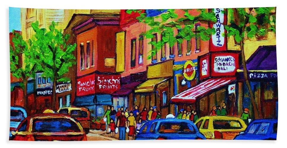 Cityscape Beach Sheet featuring the painting Saint Lawrence Street by Carole Spandau