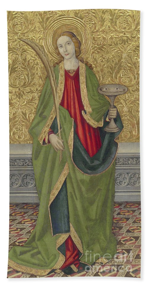 Saint Lucy Beach Towel featuring the painting Saint Lucy by Jaume the younger Vergos