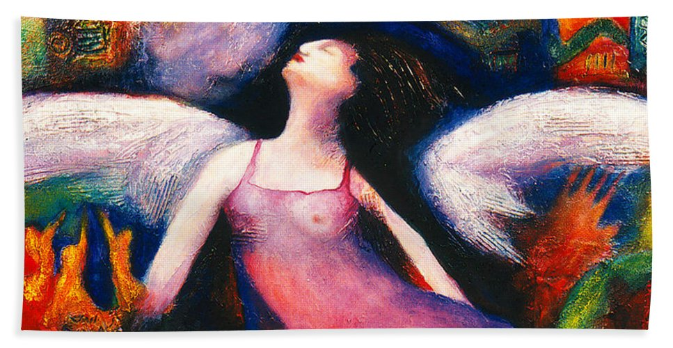 Saint Beach Towel featuring the painting Saint Marcela by Claudia Fuenzalida Johns