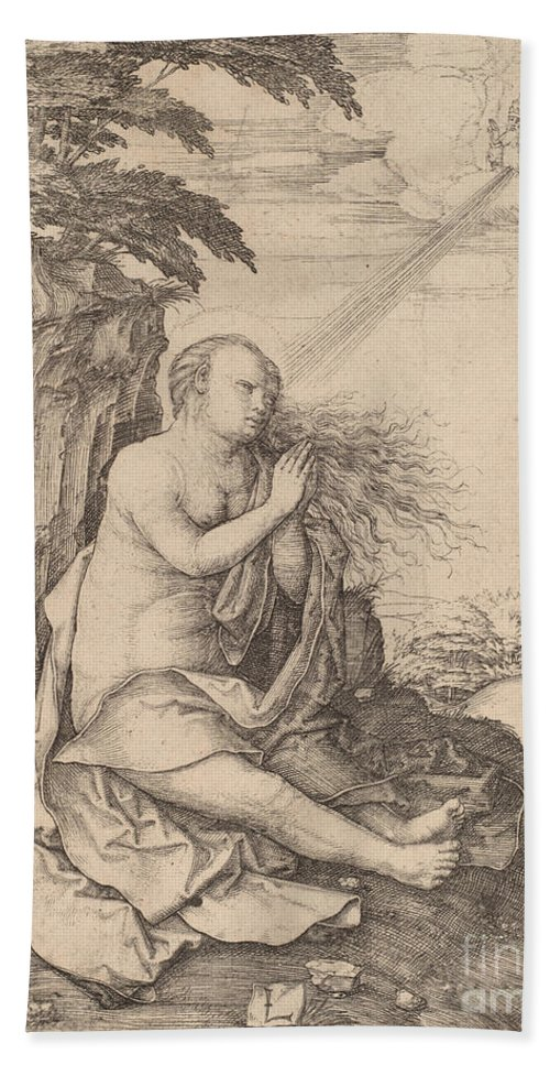 Beach Towel featuring the drawing Saint Mary Magdalene In The Desert by Lucas Van Leyden