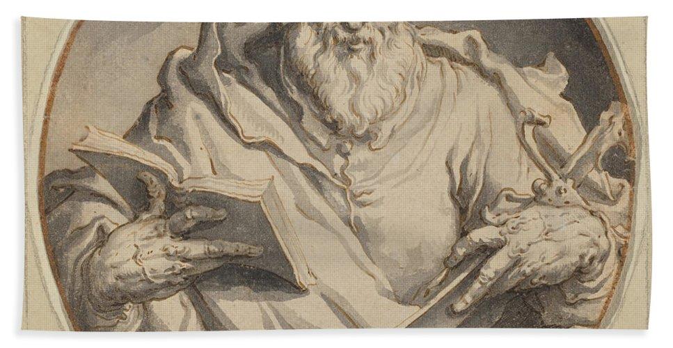 Beach Towel featuring the drawing Saint Matthew by Jacques De Gheyn Ii