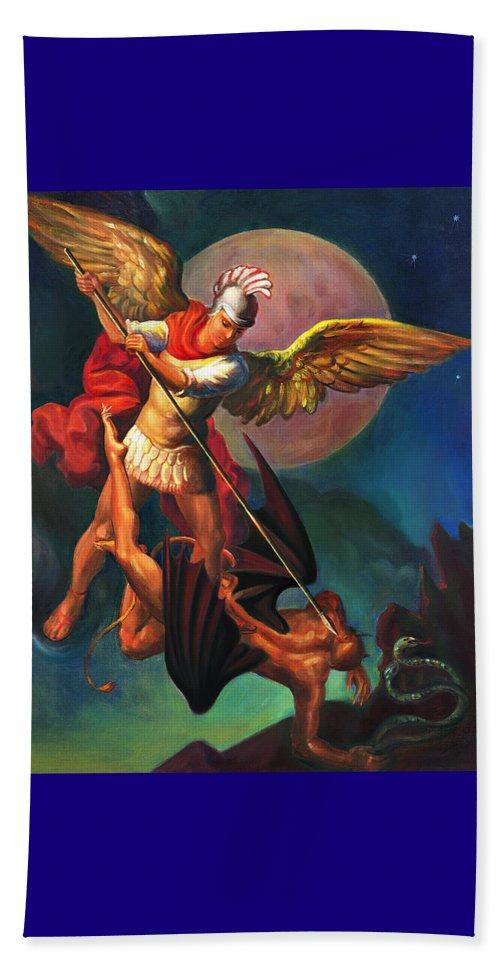 Bible Beach Sheet featuring the painting Saint Michael The Warrior Archangel by Svitozar Nenyuk