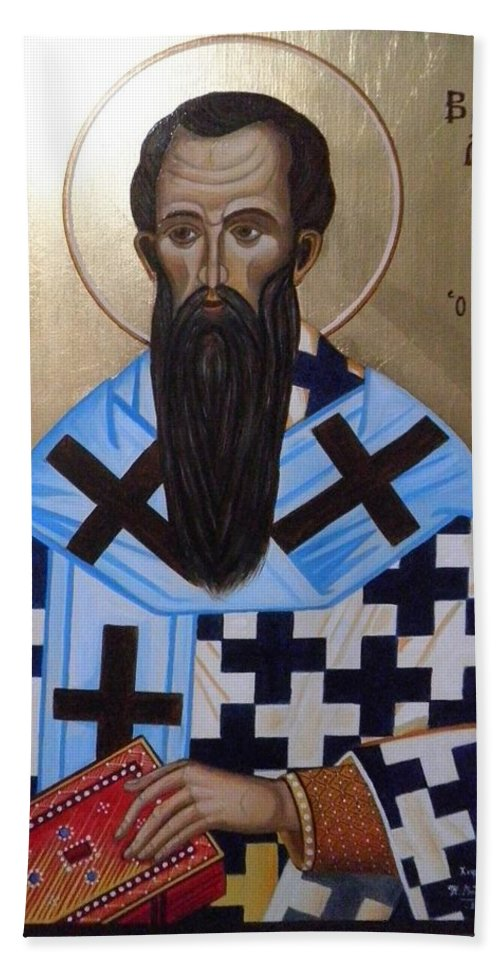 Agios Vasilios Beach Towel featuring the painting Saint Vasilios by Konstantinos Baklatzis