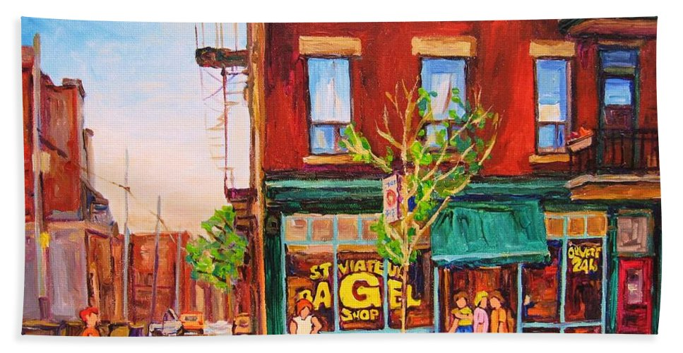 Montreal Beach Towel featuring the painting Saint Viateur Bagel by Carole Spandau
