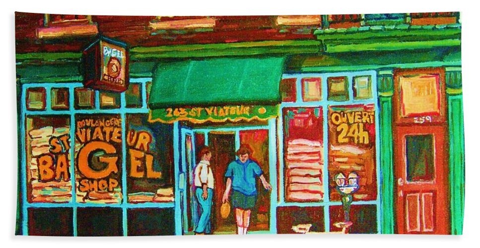 Saint Viateur Bagel Beach Towel featuring the painting Saint Viateur Bakery by Carole Spandau