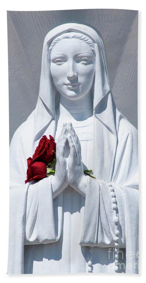 Beautiful Beach Towel featuring the photograph Saint Virgin Mary Statue #1 by Julian Starks