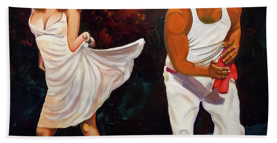 Dancing Cuba Painting Salsa Woman Beach Towel featuring the painting Salsa 2 by Jose Manuel Abraham