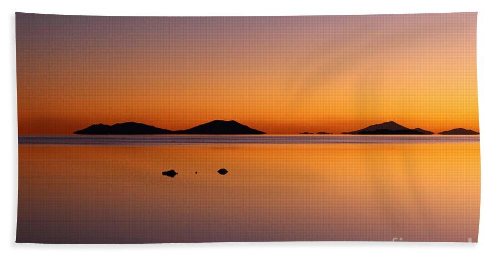 Sunset Beach Towel featuring the photograph Salar De Uyuni Sunset by James Brunker
