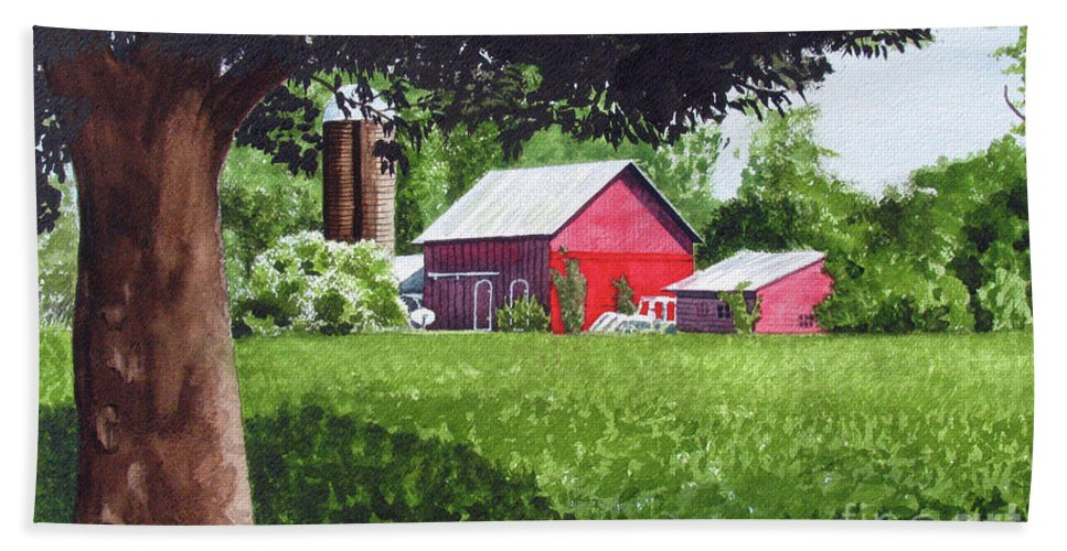 Farm Beach Towel featuring the painting Salem County Farm, Framed by Barry Levy