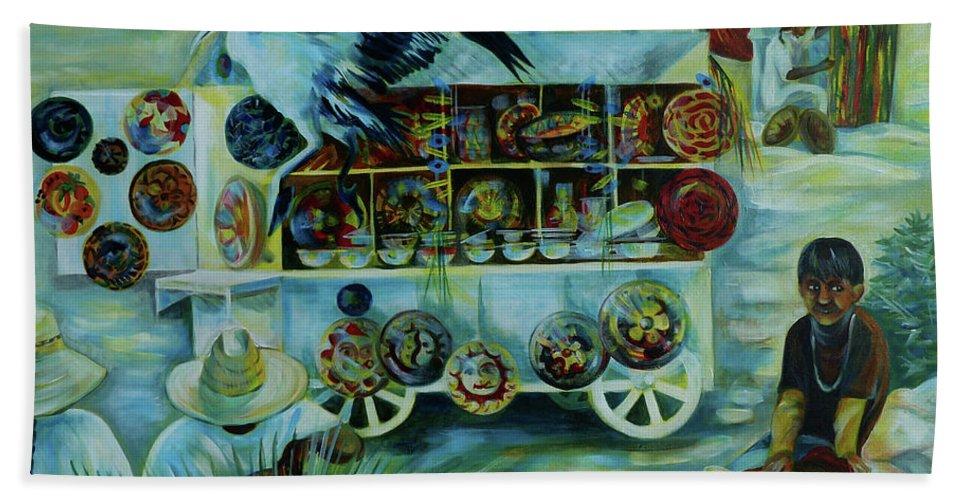 Salers Of Treasures Beach Towel featuring the painting Salers Of Treasures. by Anna Duyunova