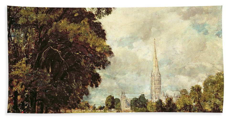 Church Beach Towel featuring the painting Salisbury Cathedral From Lower Marsh Close by John Constable