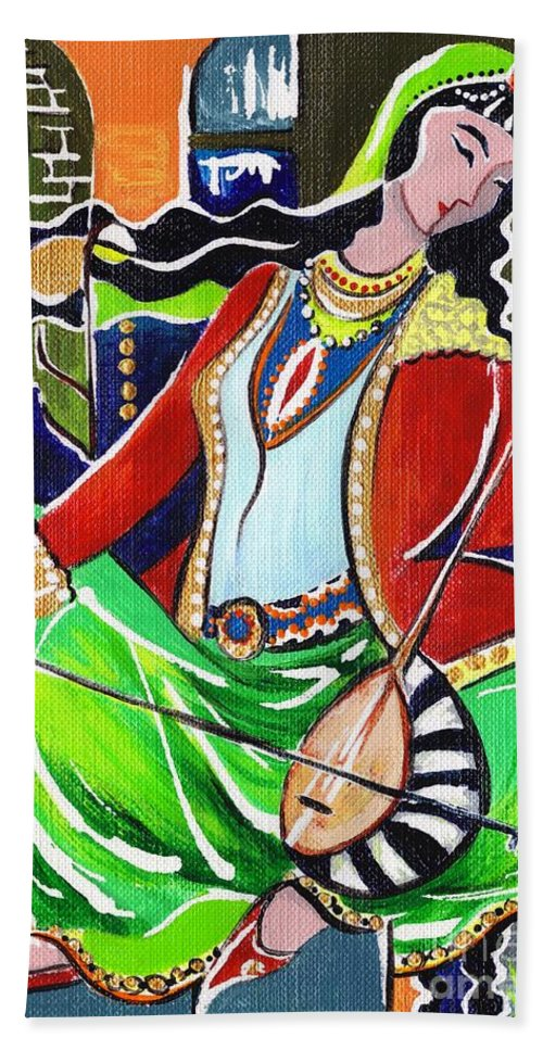 Musical Instruments Beach Towel featuring the painting Sallaneh And Its Player by Elisabeta Hermann