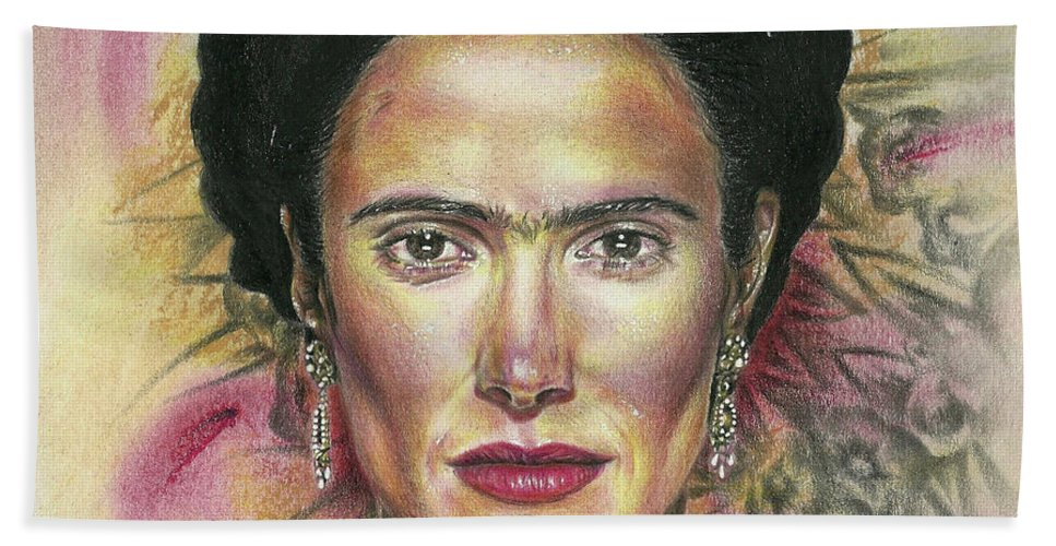 Frida Beach Towel featuring the drawing Salma Hayek As Frida Kahlo by Daniel Ayala
