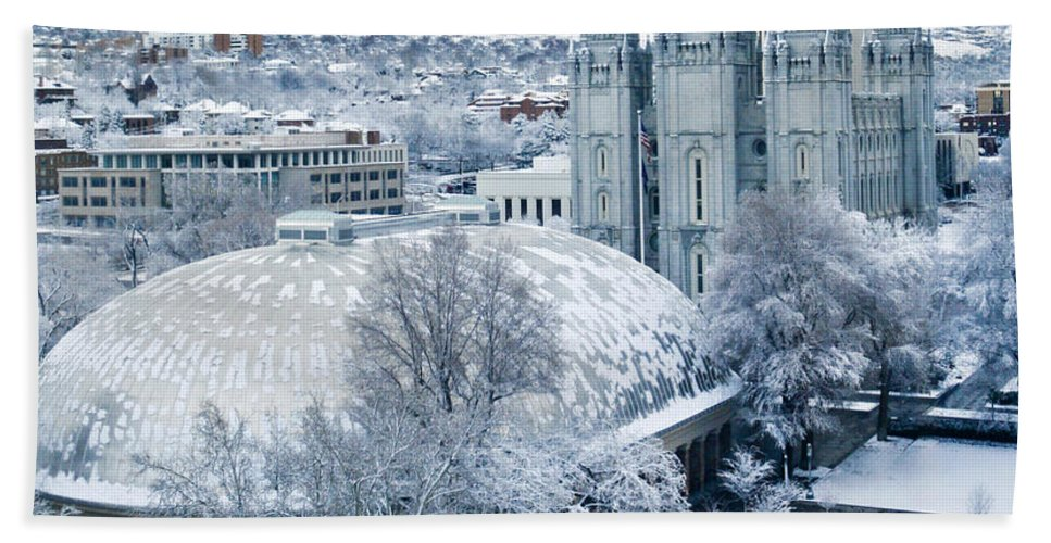 Mormon Beach Towel featuring the photograph Salt Lake City Tabernacle And Temple by Marilyn Hunt