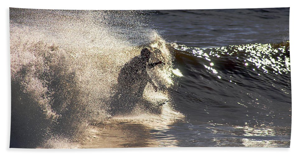 Clay Beach Sheet featuring the photograph Salt Spray Surfing by Clayton Bruster