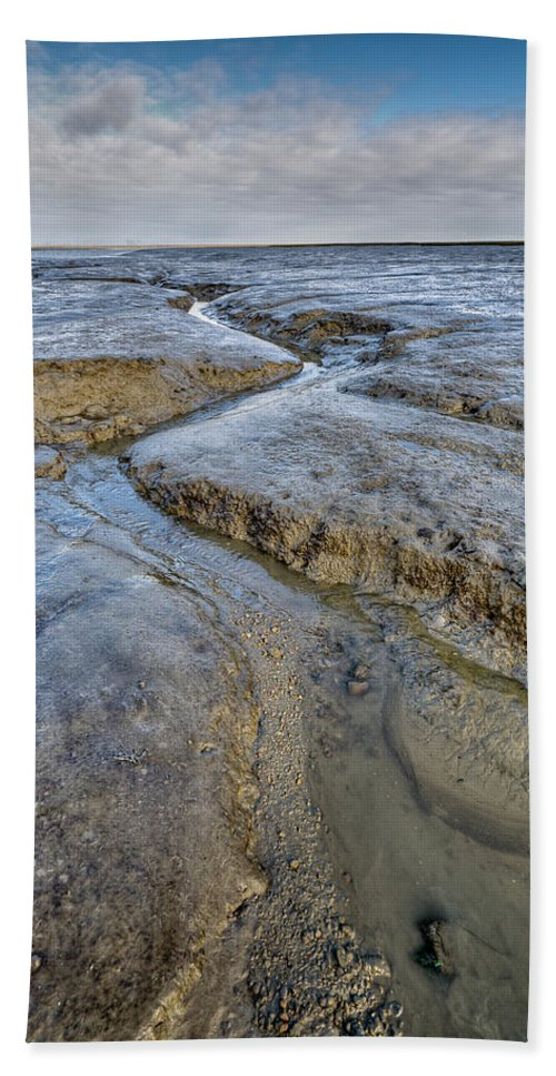 Mud Beach Towel featuring the photograph Saltings Channel by Gary Eason