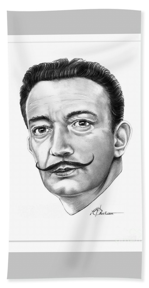 Drawing Beach Towel featuring the drawing Salvador Dali by Murphy Elliott