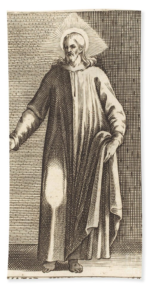 Beach Towel featuring the drawing Salvator Mundi by Jacques Callot