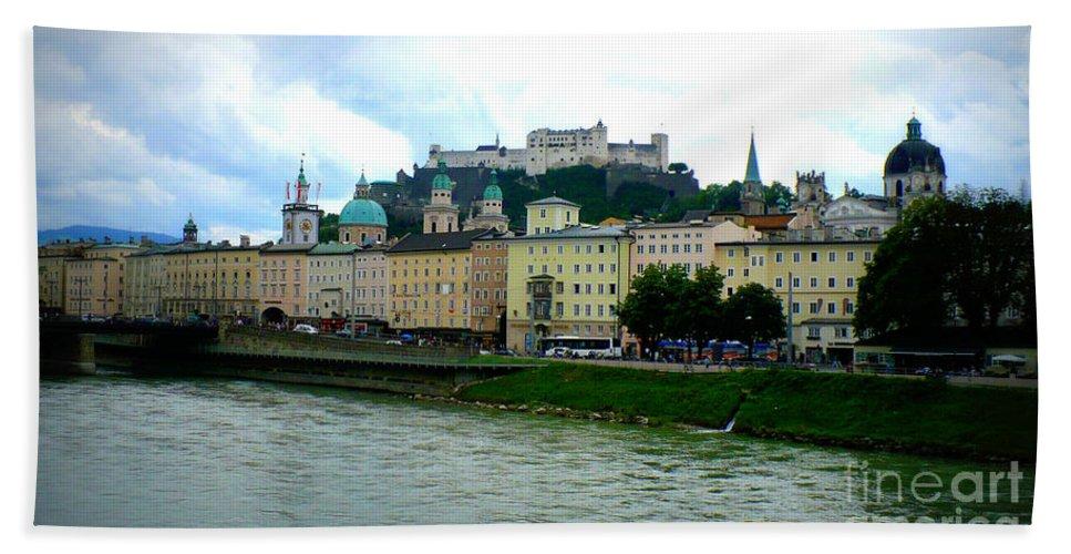 Salzburg Beach Towel featuring the photograph Salzburg Over The Danube by Carol Groenen