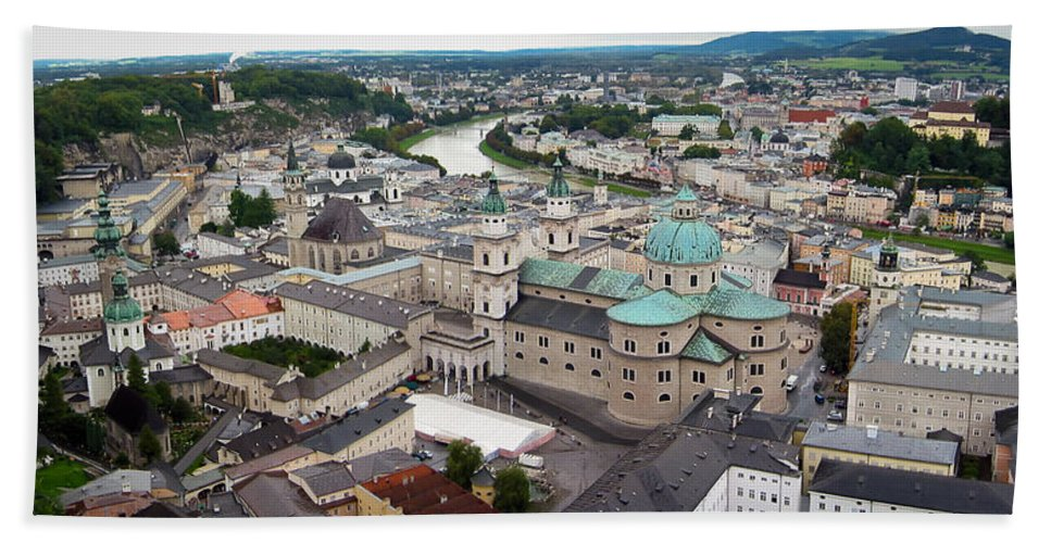 3scape Beach Towel featuring the photograph Salzburg Panoramic by Adam Romanowicz