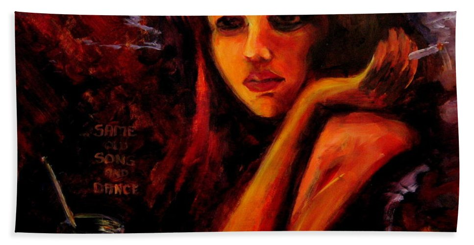 Woman Beach Towel featuring the painting Same Old Song And Dance by Jason Reinhardt