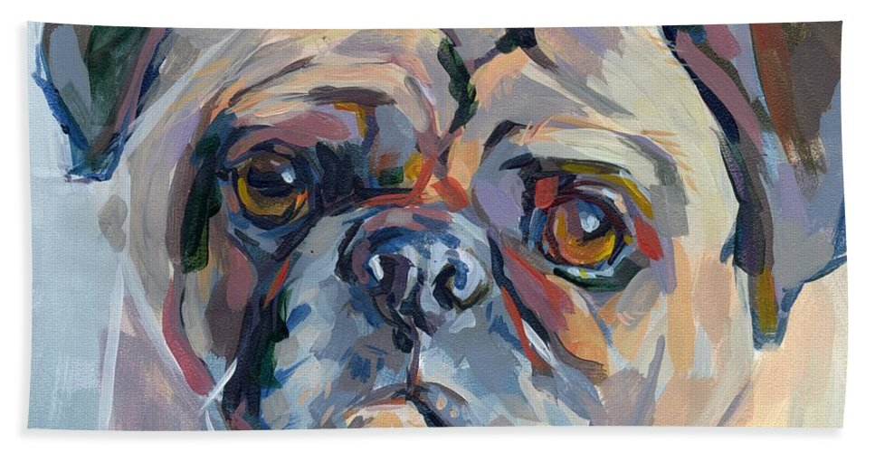 Pug Beach Towel featuring the painting Sammy Sumner by Kimberly Santini