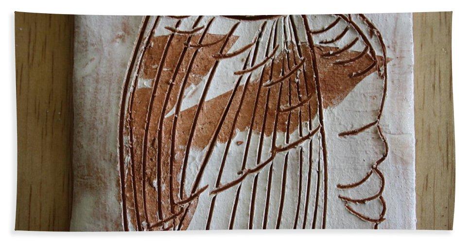 Jesus Beach Towel featuring the ceramic art Samson - Tile by Gloria Ssali