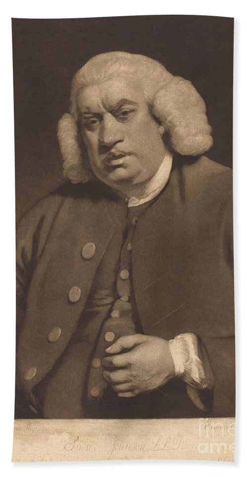 Beach Towel featuring the drawing Samuel Johnson by William Doughty After Sir Joshua Reynolds