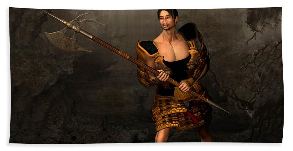 Samural Warrior Beach Towel featuring the digital art Samural Warrior by John Junek