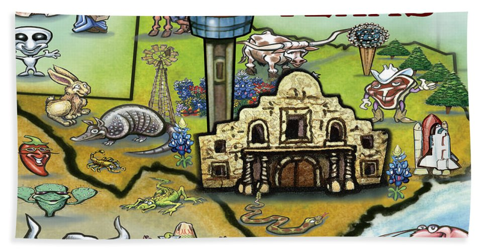 San Antonio Beach Towel featuring the digital art San Antonio Texas by Kevin Middleton