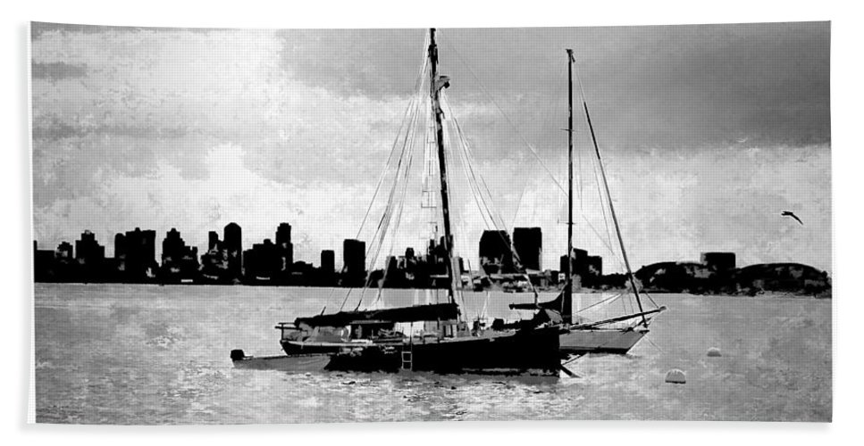 Skyline Harbor View Bay Pacific Ocean San Diego Bay National West Coast Maritime1855 Tidepools Historic West Coast Pacific Ocean Beautiful Views Lighthouse Point Loma Architecture Architectural San Diego Scenic Detail Lantern Room Sentinel Building Coast Ocean Seaside Western United States Out West California Photo Park Monument Southern Historic Lighthouse Point Loma Rj Aguilar Photography Pacific Ocean Bay National West Coast Maritime 1855 Shelter Island Beach Towel featuring the painting San Diego Bay Sailboats by RJ Aguilar