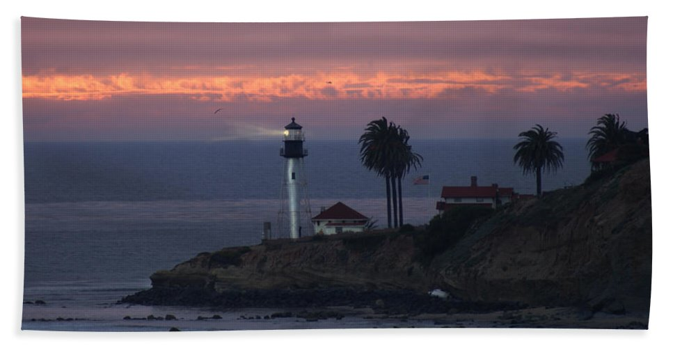 San Deigo Beach Towel featuring the photograph San Diego Lighthouse by Heather Coen
