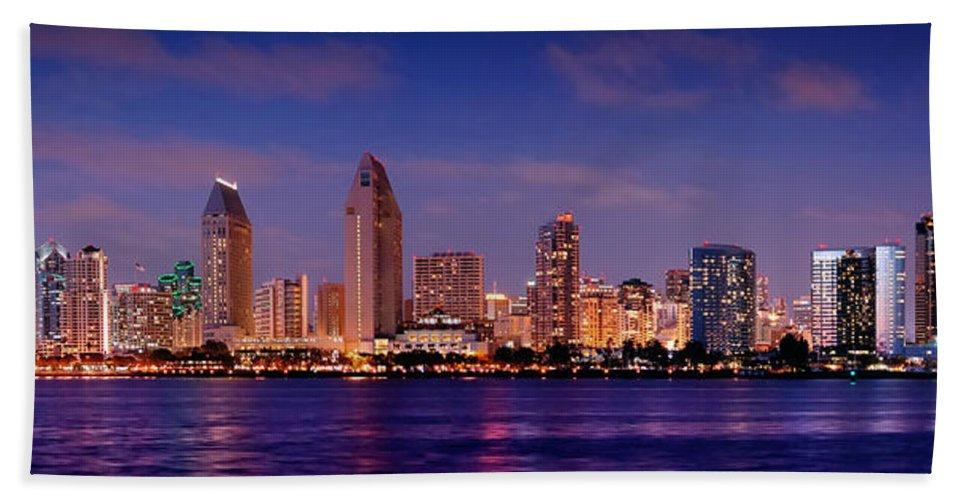 San Diego Skyline At Dusk Beach Towel featuring the photograph San Diego Skyline At Dusk by Jon Holiday