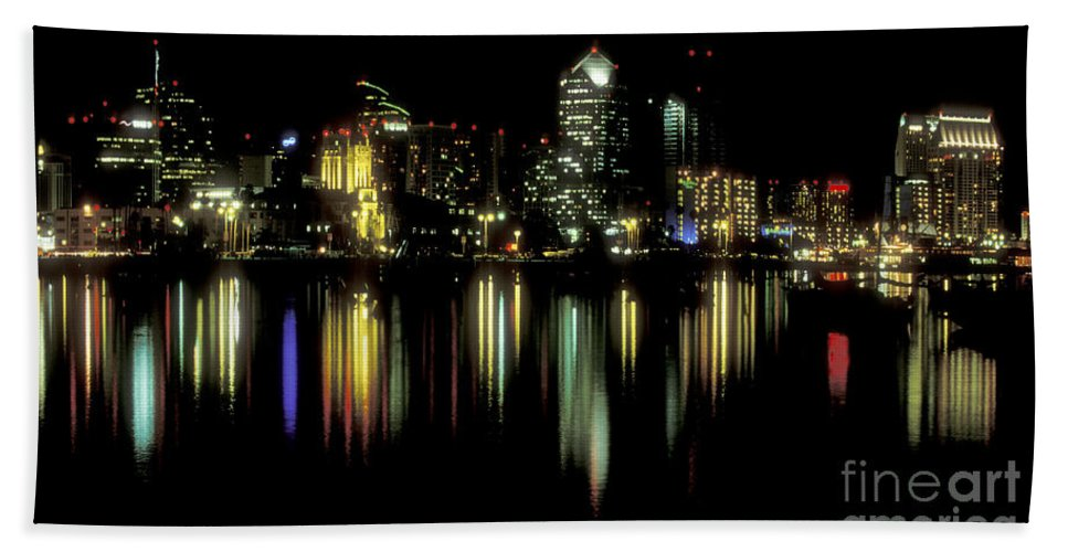 San Diego Skyline Beach Towel featuring the photograph San Diego Skyline by Sandra Bronstein