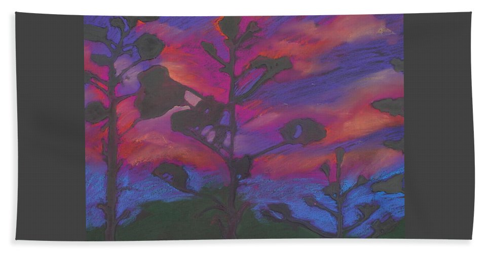 Contemporary Tree Landscape Beach Towel featuring the mixed media San Diego Sunset by Leah Tomaino