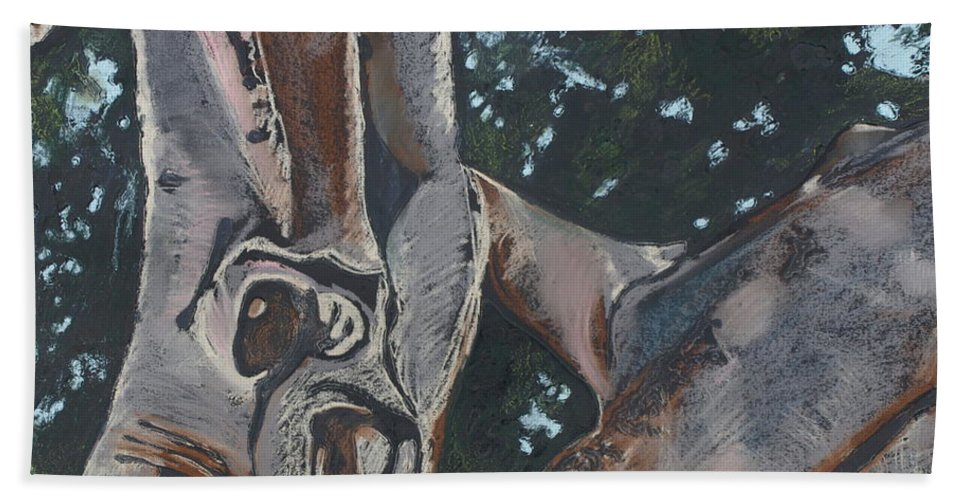 Contemporary Tree Beach Sheet featuring the drawing San Diego Zoo by Leah Tomaino