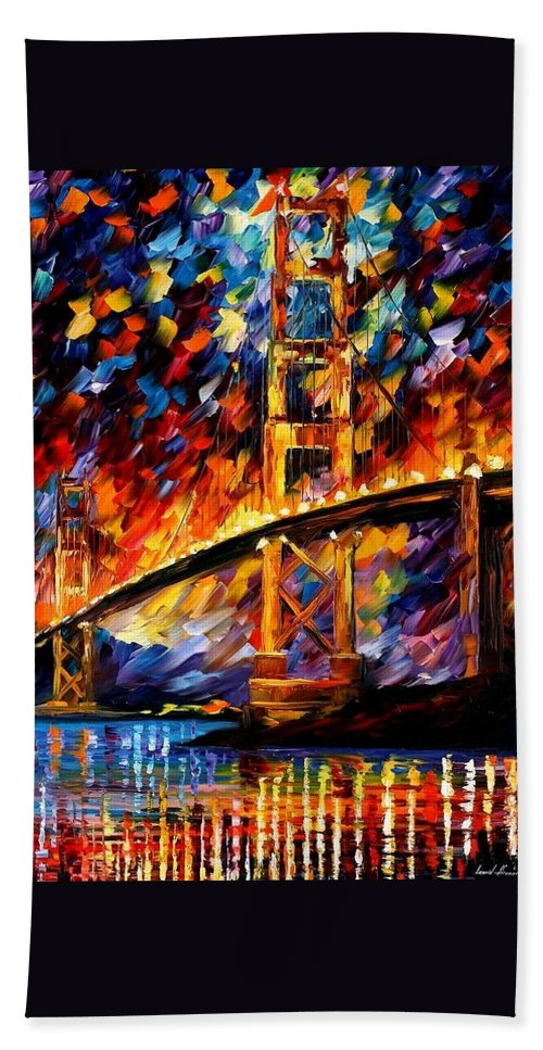 Afremov Beach Towel featuring the painting San Francisco - Golden Gate by Leonid Afremov