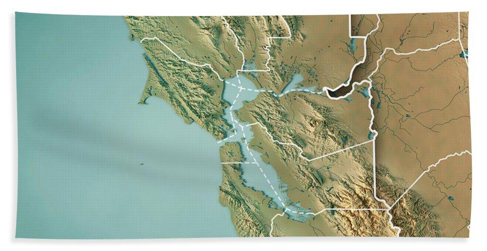 San Francisco Bay Area Usa 3d Render Topographic Map Border Beach ...