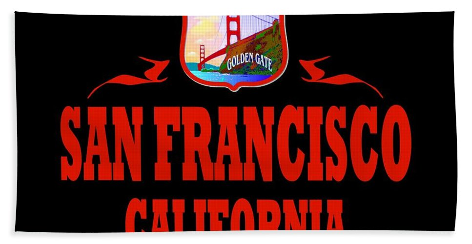 Sanfrancisco Beach Towel featuring the mixed media San Francisco California Golden Gate Design by Peter Potter