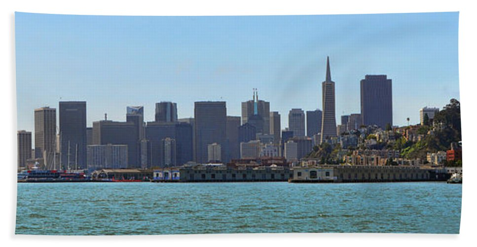 Skyline Beach Towel featuring the photograph San Francisco Skyline -1 by Tommy Anderson