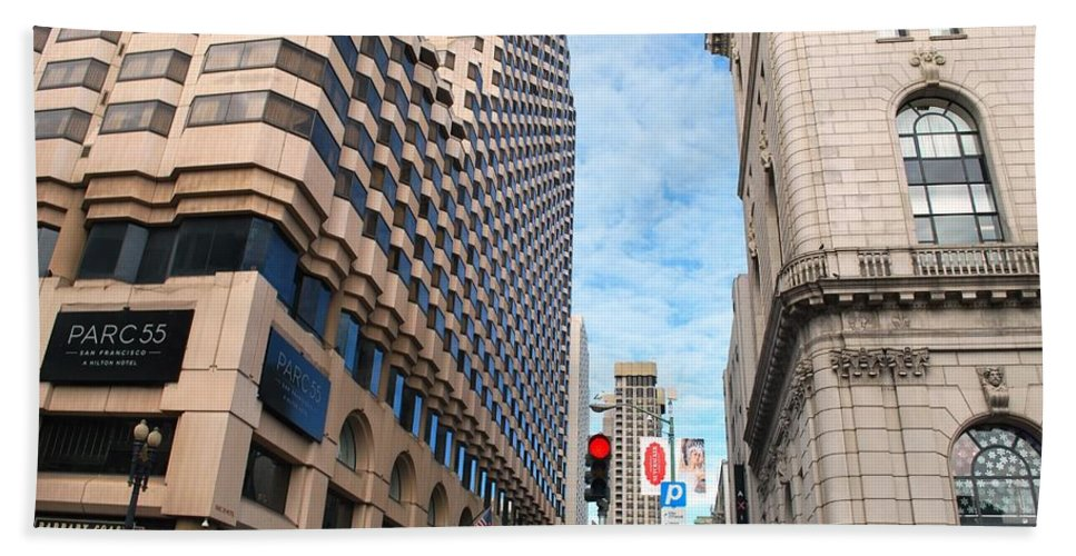 City Beach Towel featuring the photograph San Francisco Street View - Parc 55 by Matt Quest