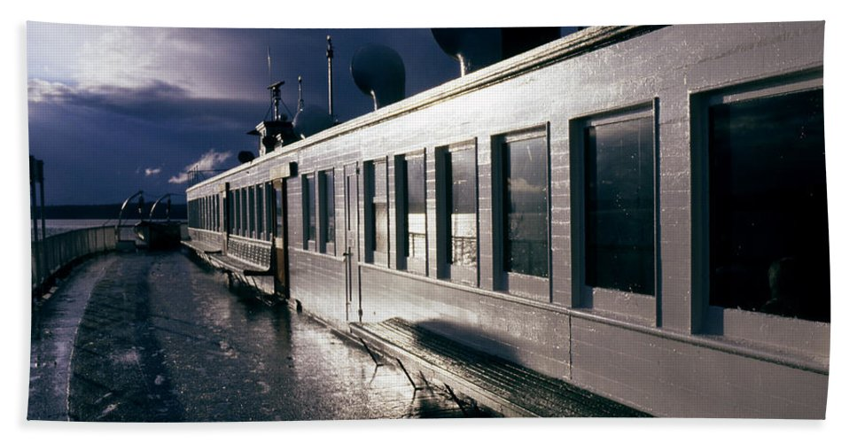 Scenic Beach Towel featuring the photograph San Juan Islands Ferry by Lee Santa