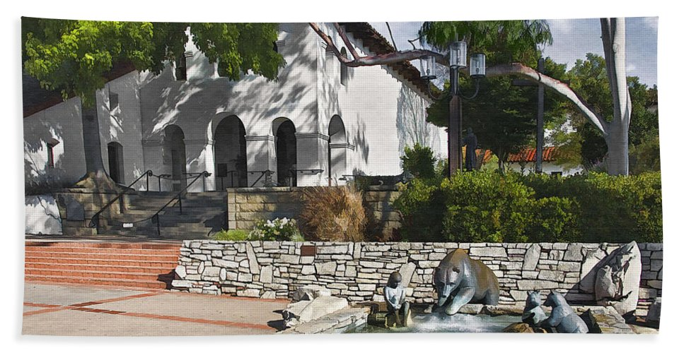 San Luis Mission Beach Towel featuring the digital art San Luis Mission Fountain by Sharon Foster