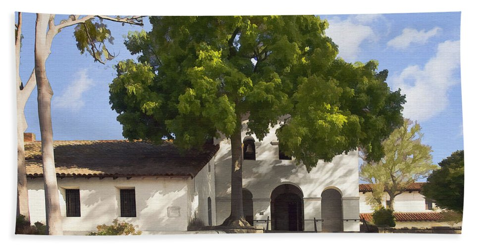 San Luis Obispo De Tolosa Mission Beach Towel featuring the digital art San Luis Mission by Sharon Foster