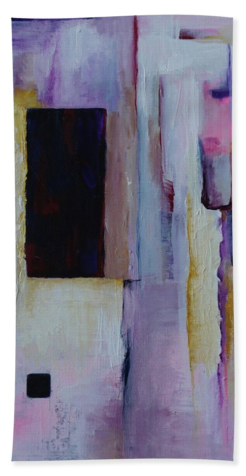 Abstract Beach Towel featuring the painting Sanctuary In Amber by Sherri Hanna