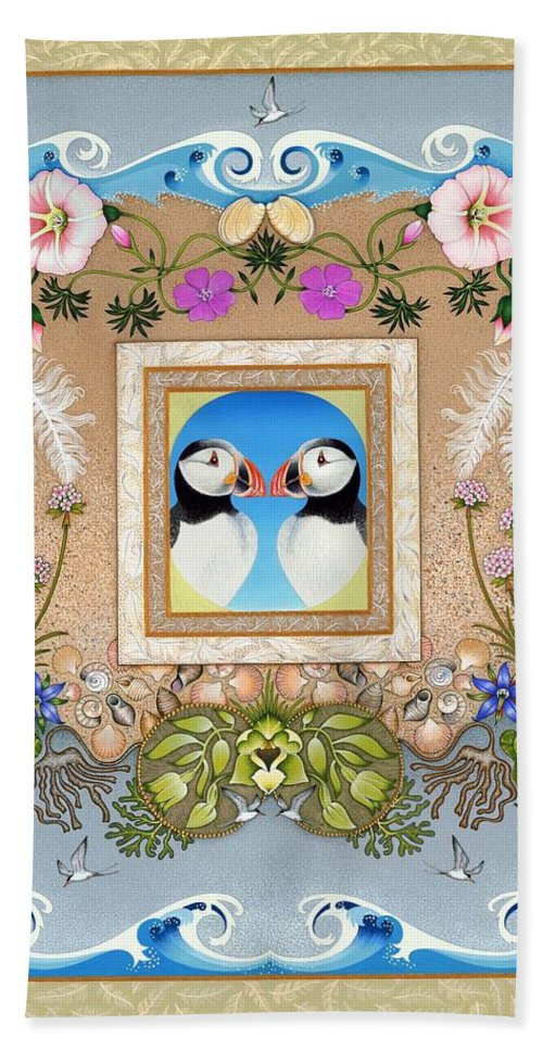Puffin.puffins Beach Towel featuring the painting Sanctuary by Isobel Brook Haslam