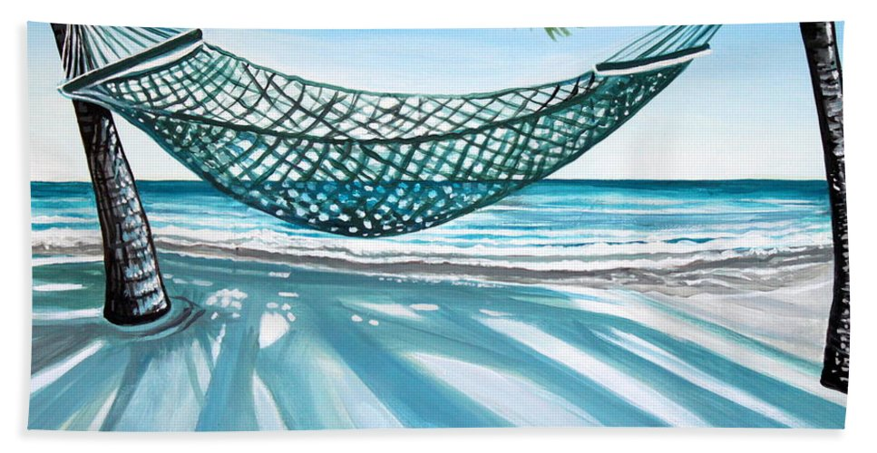 Landscape Beach Towel featuring the painting Sand And Shadows by Elizabeth Robinette Tyndall
