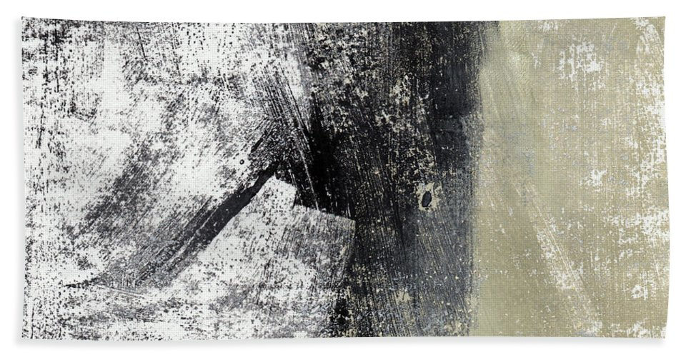 Grey Abstract Beach Towel featuring the painting Sand And Steel- Abstract Art by Linda Woods