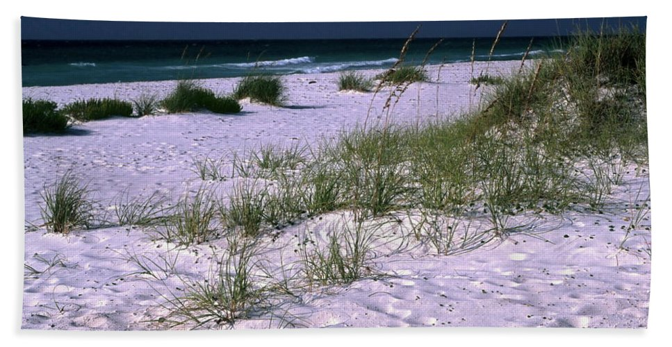 White Sand Beach Beach Towel featuring the photograph Sand Beach And Grass by Sally Weigand