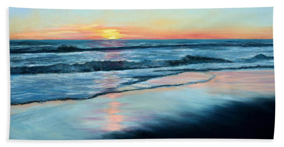 Sand Beach Towel featuring the painting Sand Reflections by Mary Benke